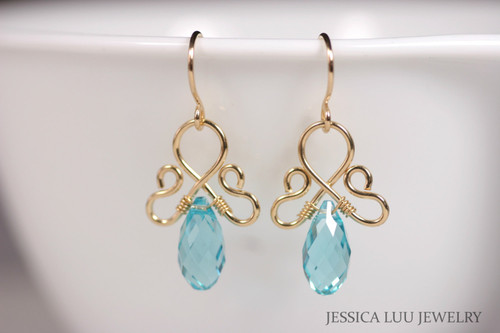 Gold Blue Green Swarovski Crystal Earrings - Available with Matching Necklace