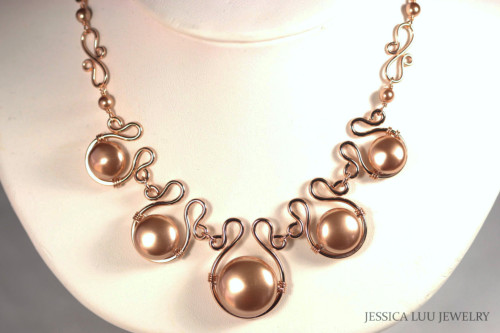 Rose Gold Pearl Statement Necklace - Available with Matching Earrings