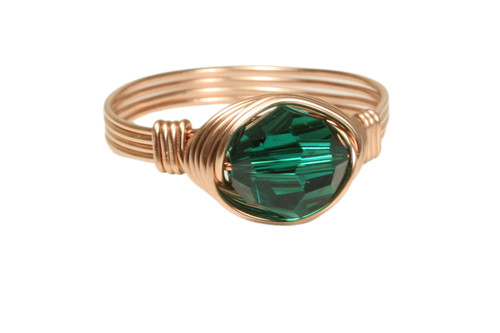 14K rose gold filled wire wrapped emerald green crystal ring handmade by Jessica Luu Jewelry