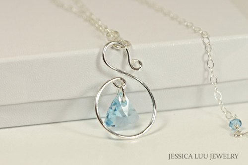 Sterling Silver Aquamarine Swarovski Crystal Necklace - Available with Matching Earrings