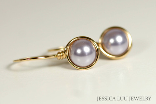 Gold Lavender Pearl Earrings - Available with Matching Necklace and Other Metal Options