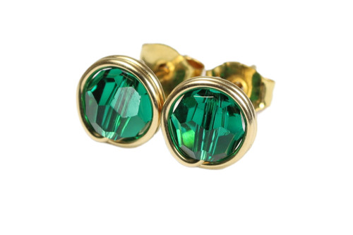 14K yellow gold filled wire wrapped emerald green crystal stud earrings handmade by Jessica Luu Jewelry