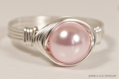 Sterling silver wire wrapped light pink rosaline Swarovski pearl solitaire ring handmade by Jessica Luu Jewelry