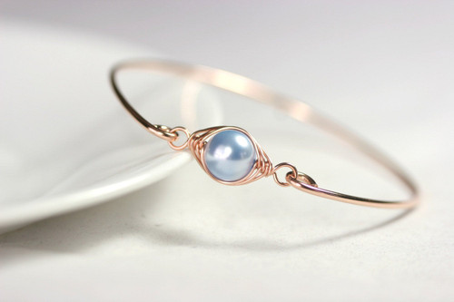 Handmade 14k rose gold filled wire wrapped bangle bracelet with light blue Swarovski pearl