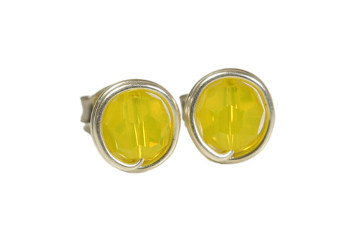 Sterling silver wire wrapped stud earrings with yellow opal Swarovski crystals handmade by Jessica Luu Jewelry