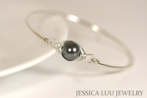 handmade sterling silver wire wrapped bangle bracelet with dark grey Swarovski pearl by Jessica Luu Jewelry