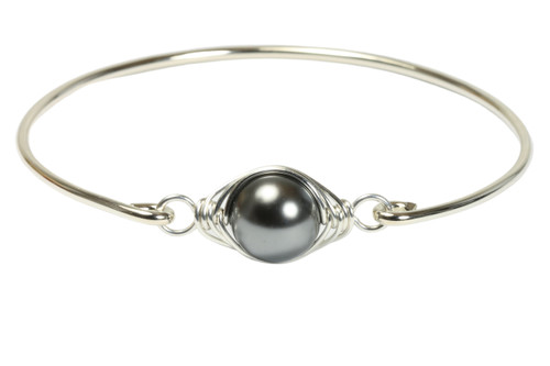 handmade sterling silver wire wrapped bangle bracelet with dark grey pearl by Jessica Luu Jewelry