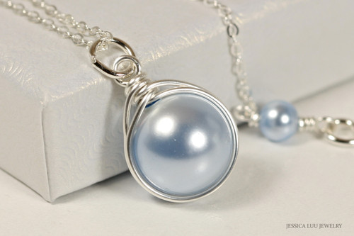 Sterling silver wire wrapped light blue Swarovski pearl solitaire pendant on chain necklace handmade by Jessica Luu Jewelry