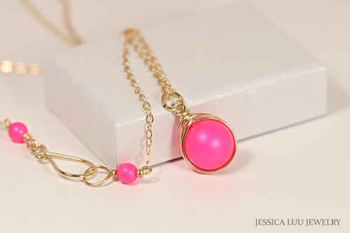 Gold Neon Pink Necklace - Available with Matching Earrings and Other Metal Options