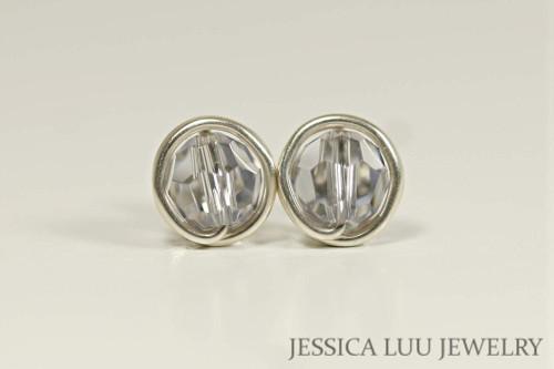 Sterling silver wire wrapped smoky mauve Swarovski crystal stud earrings handmade by Jessica Luu Jewelry