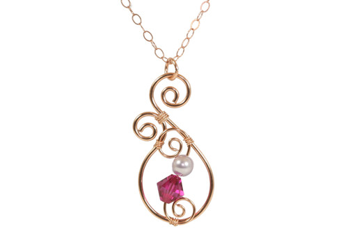14K rose gold wire wrapped pendant necklace with fuchsia crystal and lavender pearl handmade by Jessica Luu Jewelry
