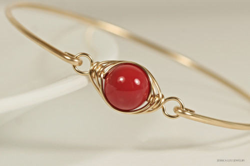 handmade 14k yellow gold filled wire wrapped bangle bracelet with red coral Swarovski pearl by Jessica Luu Jewelry