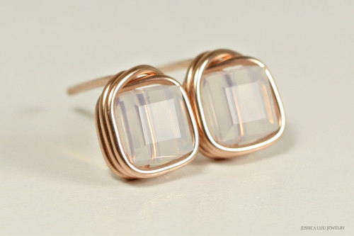 14K rose gold filled wire wrapped white opal Swarovski crystal cube stud earrings handmade by Jessica Luu Jewelry