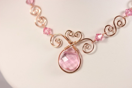 14K rose gold filled wire wrapped necklace with light pink Swarovski crystal flat briolette handmade by Jessica Luu Jewelry