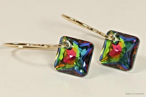 14K yellow gold filled vitrail medium Swarovski crystal princess cut pendant dangle earrings handmade by Jessica Luu Jewelry