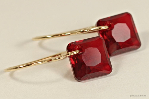 14K yellow gold filled garnet red siam Swarovski crystal princess cut dangle earrings handmade by Jessica Luu Jewelry