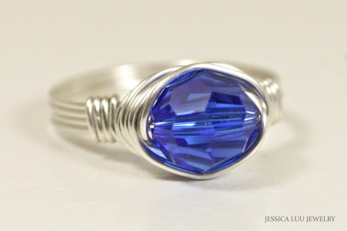 Sterling silver wire wrapped majestic cobalt blue Swarovski crystal solitaire ring handmade by Jessica Luu Jewelry