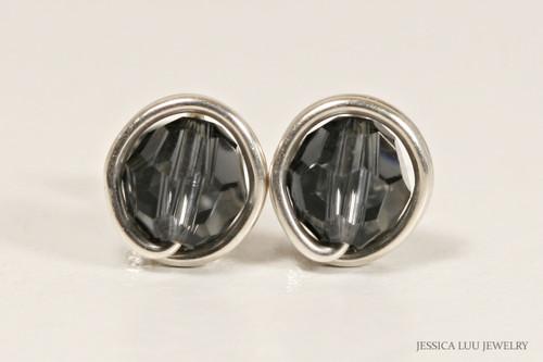 Sterling silver wire wrapped graphite dark grey Swarovski crystal stud earrings handmade by Jessica Luu Jewelry