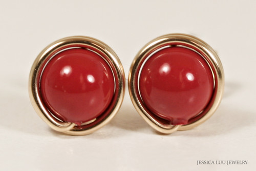 14K yellow gold filled wire wrapped red coral Swarovski pearl stud earrings handmade by Jessica Luu Jewelry