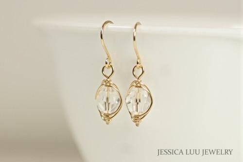 14K yellow gold filled herringbone wire wrapped clear Swarovski crystal earrings handmade by Jessica Luu Jewelry