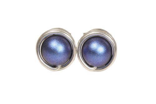 Sterling silver wire wrapped iridescent dark blue pearl stud earrings handmade by Jessica Luu Jewelry
