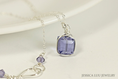 Sterling silver wire wrapped blue purple tanzanite Swarovski crystal cube pendant on chain necklace handmade by Jessica Luu Jewelry