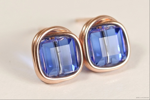 14K rose gold filled wire wrapped sapphire blue Swarovski crystal cube stud earrings handmade by Jessica Luu Jewelry