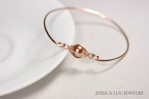 14k rose gold filled wire wrapped bangle bracelet with Swarovski pearl handmade by Jessica Luu Jewelry