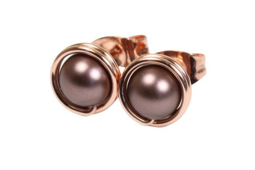 14K rose gold filled wire wrapped dark velvet brown pearl stud earrings handmade by Jessica Luu Jewelry