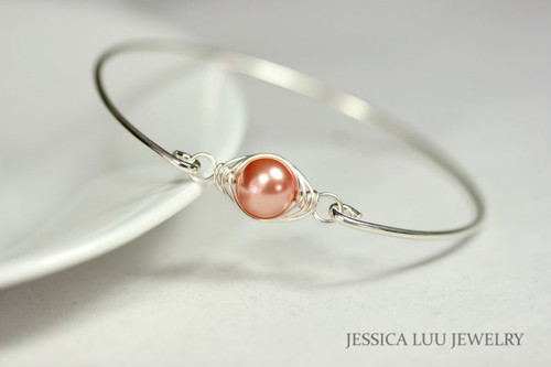 Sterling silver wire wrapped bangle bracelet with rose peach Swarovski pearl handmade by Jessica Luu Jewelry