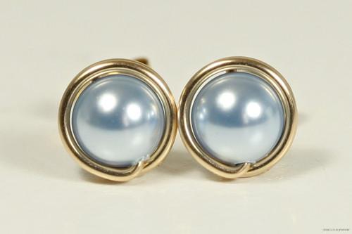 14K yellow gold filled wire wrapped light blue Swarovski pearl stud earrings handmade by Jessica Luu Jewelry