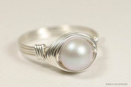 Sterling silver iridescent dove grey Swarovski pearl solitaire ring handmade by Jessica Luu Jewelry