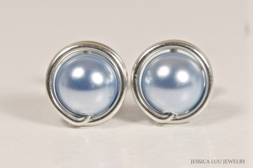 Sterling silver wire wrapped light blue Swarovski pearl stud earrings handmade by Jessica Luu Jewelry