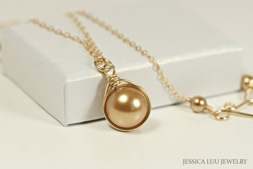 14K yellow gold filled wire wrapped bright gold Swarovski pearl solitaire pendant on chain necklace handmade by Jessica Luu Jewelry