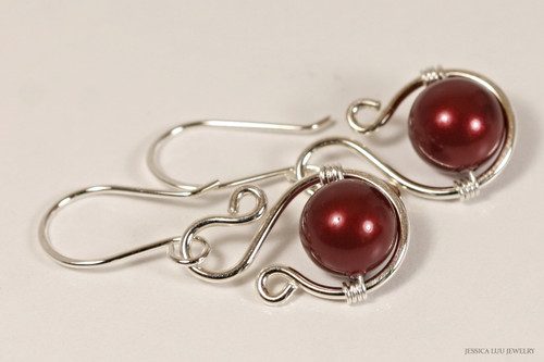 Sterling silver wire wrapped bordeaux dark red Swarovski pearl dangle earrings handmade by Jessica Luu Jewelry