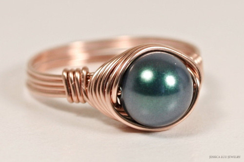 14K rose gold filled wire wrapped iridescent Tahitian Swarovski pearl solitaire ring handmade by Jessica Luu Jewelry