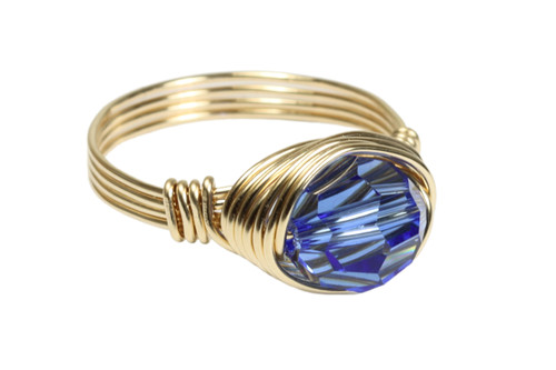 14K yellow gold filled wire wrapped sapphire blue crystal ring handmade by Jessica Luu Jewelry