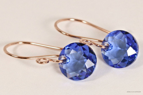 14K rose gold filled sapphire blue Swarovski crystal classic cut pendant dangle earrings handmade by Jessica Luu Jewelry