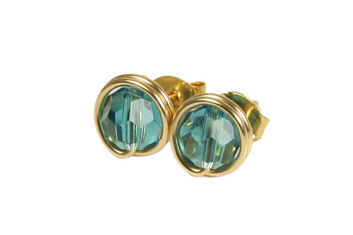 14K yellow gold filled wire wrapped teal blue indicolite crystal stud earrings handmade by Jessica Luu Jewelry