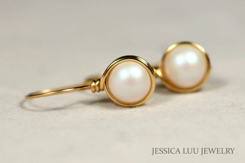 14K yellow gold filled wire wrapped pearlescent white Swarovski pearl drop earrings handmade by Jessica Luu Jewelry