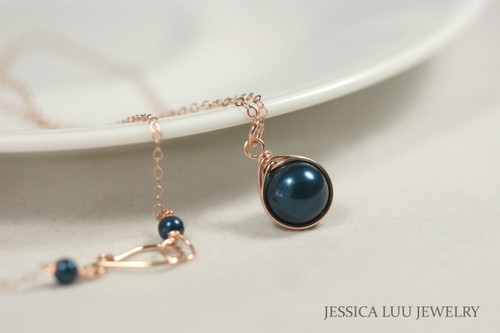 14K rose gold filled wire wrapped dark blue petrol Swarovski pearl solitaire pendant on chain necklace handmade  by Jessica Luu Jewelry
