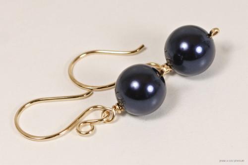 14K yellow gold filled wire wrapped dark navy night blue Swarovski pearl dangle earrings handmade by Jessica Luu Jewelry