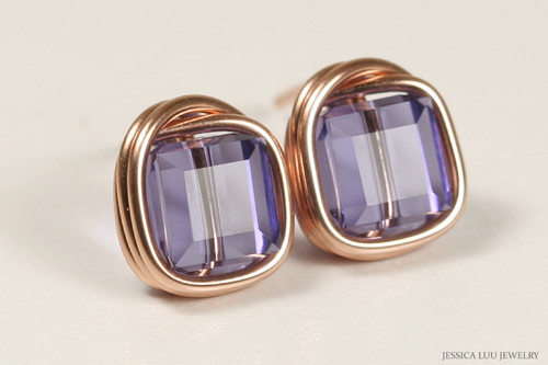 14K rose gold filled wire wrapped blue purple tanzanite Swarovski crystal cube square stud earrings handmade by Jessica Luu Jewelry