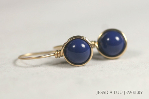 14K yellow gold filled wire wrapped dark lapis blue Swarovski pearl drop earrings handmade by Jessica Luu Jewelry