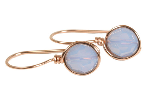 14K rose gold filled wire wrapped drop earrings with air blue opal crystals handmade by Jessica Luu Jewelry