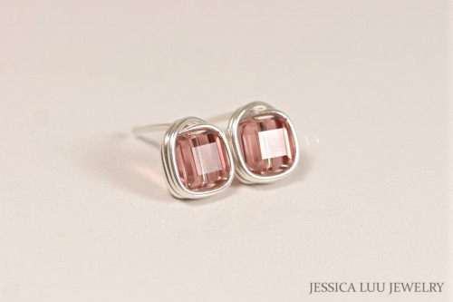 Sterling silver wire wrapped blush rose pink Swarovski crystal cube square stud earrings handmade by Jessica Luu Jewelry