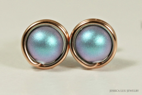 14K rose gold filled wire wrapped stud earrings with iridescent light blue Swarovski pearls handmade by Jessica Luu Jewelry