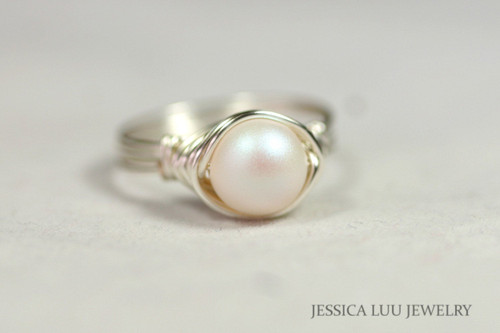 Sterling silver wire wrapped iridescent pearlescent white Swarovski pearl solitaire ring handmade by Jessica Luu Jewelry