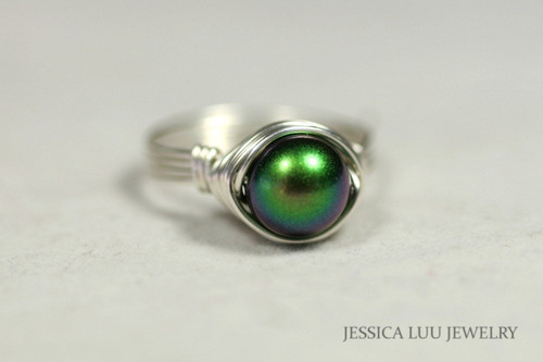 Sterling Silver Dark Green Pearl Ring - Other Metal Options Available
