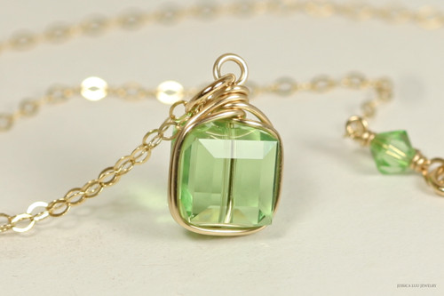 14K yellow gold filled wire wrapped light green peridot Swarovski crystal cube pendant on chain necklace handmade by Jessica Luu Jewelry